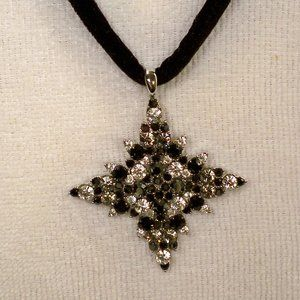 Star Black & CZ Silver Necklace NEW
